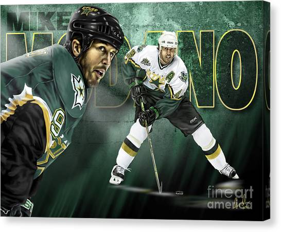 Dallas Stars Canvas Print - Mike Modano by Don Olea