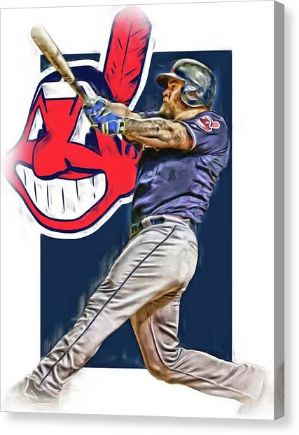 Cleveland Indians Canvas Print - Mike Napoli Cleveland Indians Oil Art 2 by Joe Hamilton