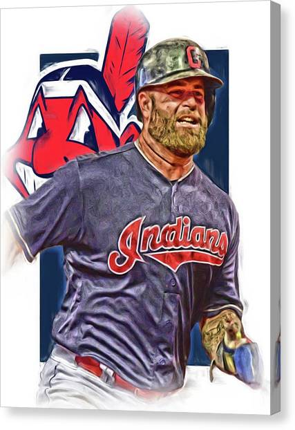 Cleveland Indians Canvas Print - Mike Napoli Cleveland Indians Oil Art by Joe Hamilton