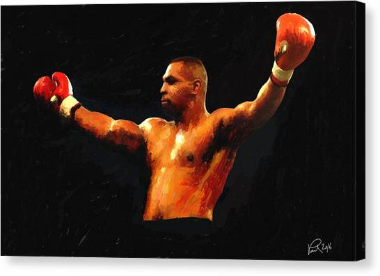 Mike Tyson Canvas Print - Mike On Black by Paul Maher