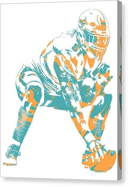 Miami Dolphins Canvas Print - Mike Pouncey Miami Dolphins Pixel Art 2 by Joe Hamilton