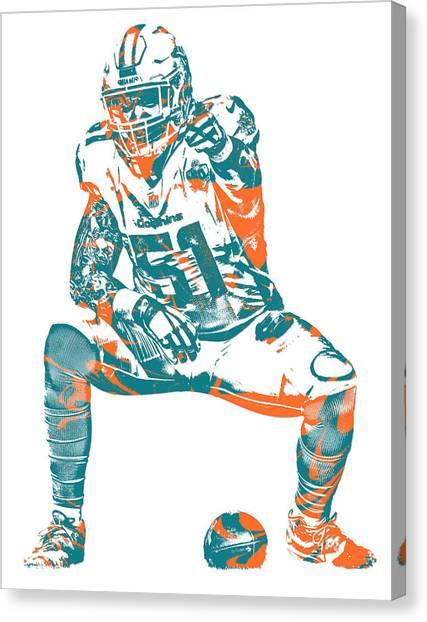 Miami Dolphins Canvas Print - Mike Pouncey Miami Dolphins Pixel Art 5 by Joe Hamilton