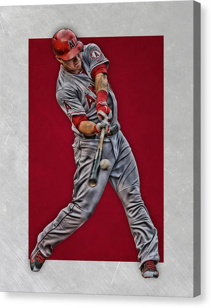 Los Angeles Angels Canvas Print - Mike Trout Los Angeles Angels Art 1 by Joe Hamilton