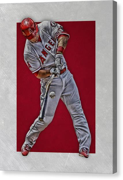 Los Angeles Angels Canvas Print - Mike Trout Los Angeles Angels Art 2 by Joe Hamilton