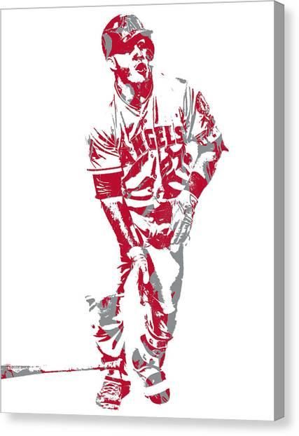Los Angeles Angels Canvas Print - Mike Trout Los Angeles Angels Pixel Art 10 by Joe Hamilton
