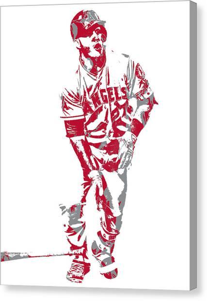 Los Angeles Angels Canvas Print - Mike Trout Los Angeles Angels Pixel Art 10 by Joe Hamilton