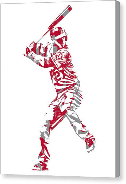 Los Angeles Angels Canvas Print - Mike Trout Los Angeles Angels Pixel Art 11 by Joe Hamilton