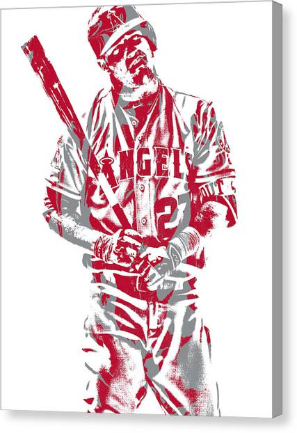 Los Angeles Angels Canvas Print - Mike Trout Los Angeles Angels Pixel Art 12 by Joe Hamilton