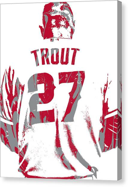 Los Angeles Angels Canvas Print - Mike Trout Los Angeles Angels Pixel Art 13 by Joe Hamilton