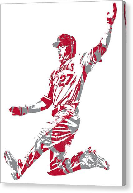 Los Angeles Angels Canvas Print - Mike Trout Los Angeles Angels Pixel Art 14 by Joe Hamilton