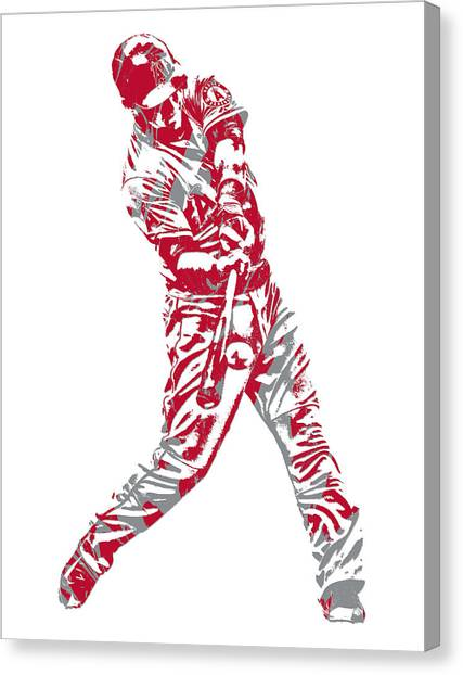 Los Angeles Angels Canvas Print - Mike Trout Los Angeles Angels Pixel Art 15 by Joe Hamilton
