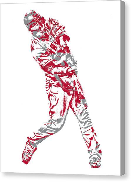Los Angeles Angels Canvas Print - Mike Trout Los Angeles Angels Pixel Art 20 by Joe Hamilton