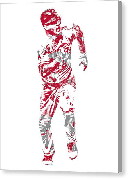 Los Angeles Angels Canvas Print - Mike Trout Los Angeles Angels Pixel Art 21 by Joe Hamilton