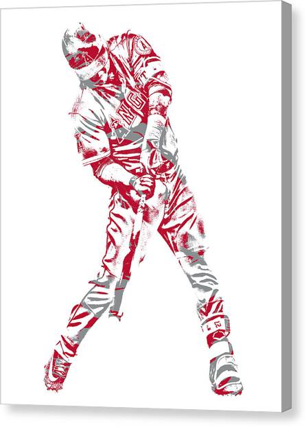 Los Angeles Angels Canvas Print - Mike Trout Los Angeles Angels Pixel Art 22 by Joe Hamilton