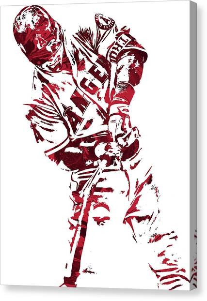 Los Angeles Angels Canvas Print - Mike Trout Los Angeles Angels Pixel Art 5 by Joe Hamilton