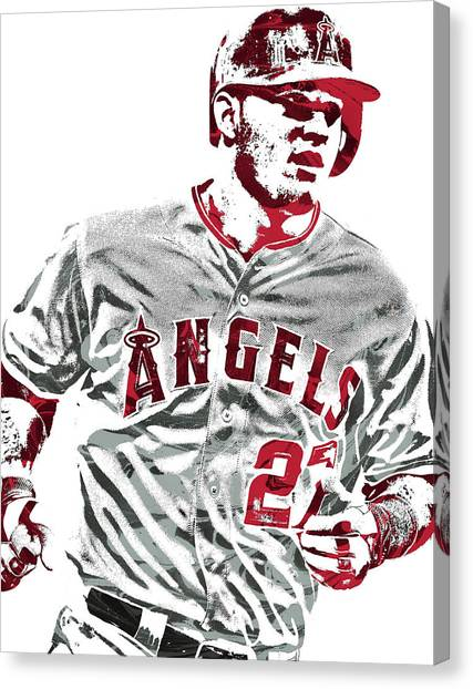 Los Angeles Angels Canvas Print - Mike Trout Los Angeles Angels Pixel Art 6 by Joe Hamilton