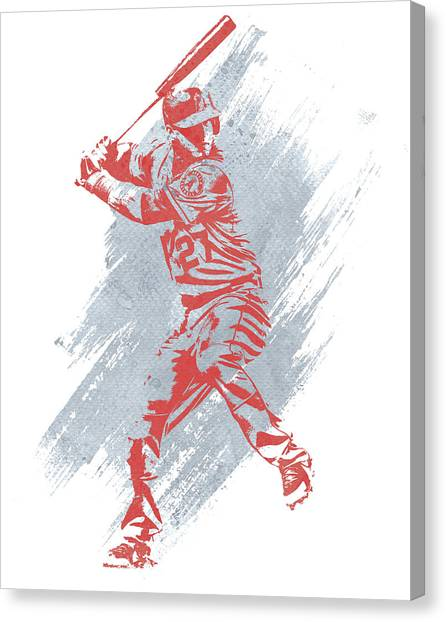 Los Angeles Angels Canvas Print - Mike Trout Los Angeles Angels Water Color Art 1 by Joe Hamilton