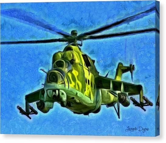Helicopter Canvas Print - Mil Mi 25 by Leonardo Digenio