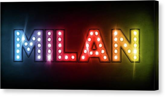 Neon Canvas Print - Milan In Lights by Michael Tompsett