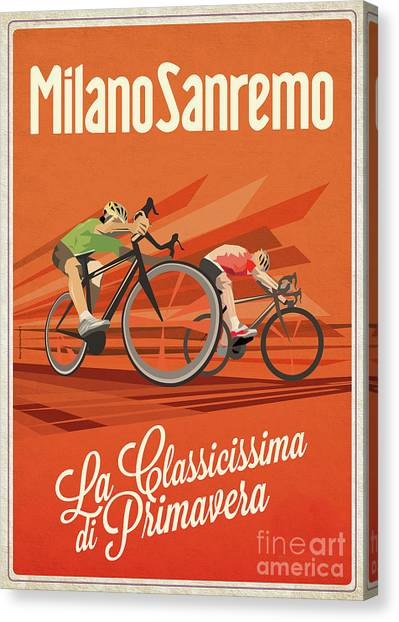 Classic Cycle Canvas Print - Milan San Remo by Sassan Filsoof