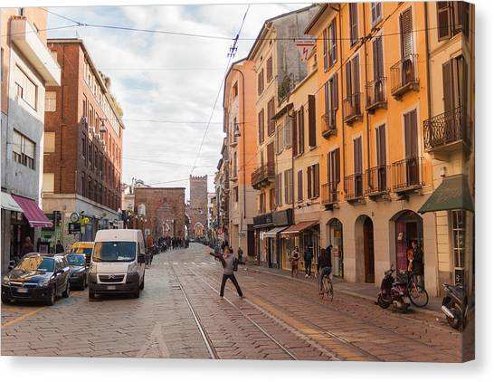Street Scenes Canvas Print - Milano 19 by Cornelia Vogt