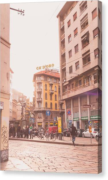 Street Scenes Canvas Print - Milano 28 by Cornelia Vogt