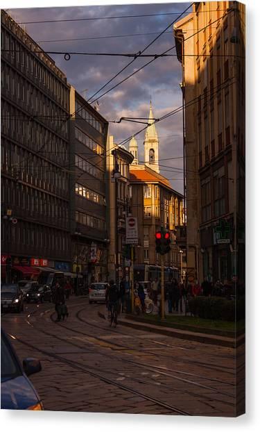 Street Scenes Canvas Print - Milano 29 by Cornelia Vogt