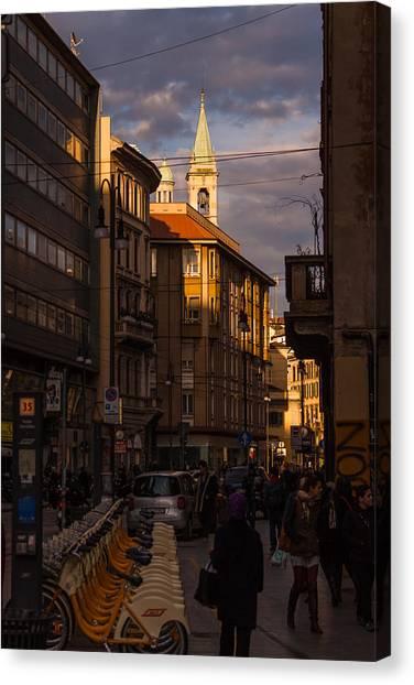 Street Scenes Canvas Print - Milano 30 by Cornelia Vogt
