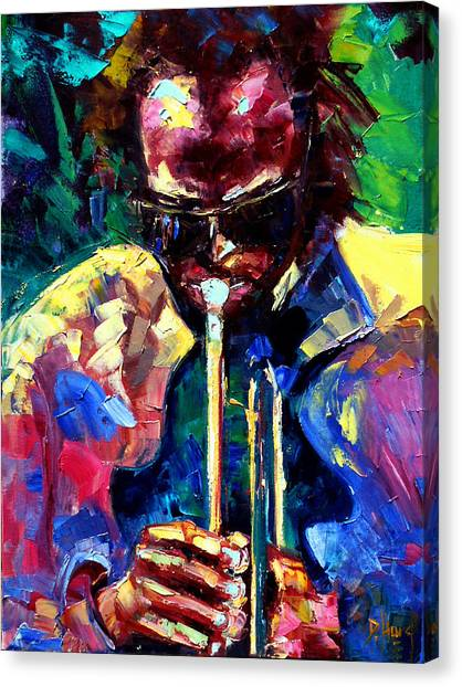 Miles Davis Canvas Print - Miles And Yellow by Debra Hurd
