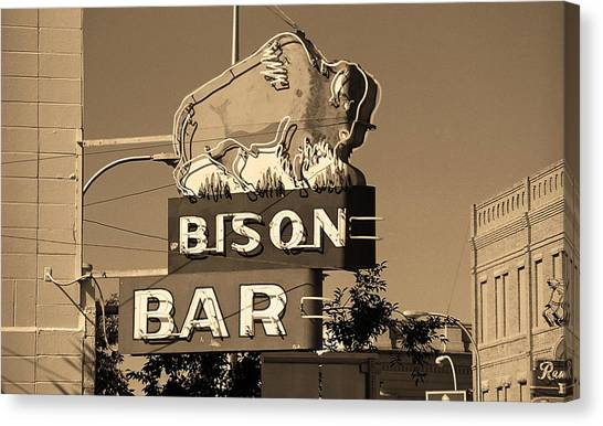 Miles City, Montana - Bison Bar Sepia Canvas Print