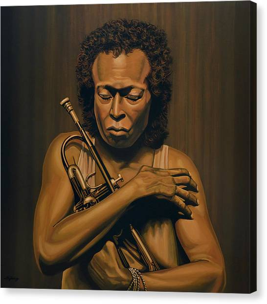 Synthesizers Canvas Print - Miles Davis Painting by Paul Meijering