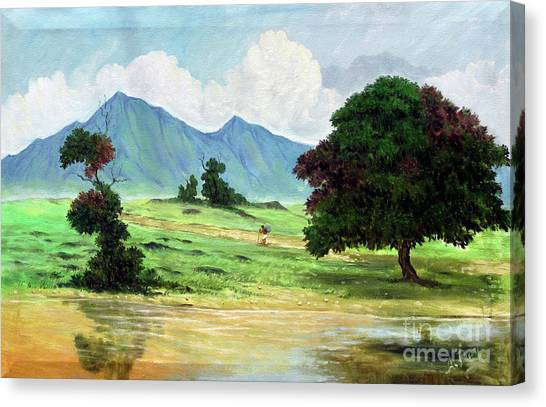 Mango Tree Canvas Print - Miles To Go Before I Sleep by Anup Roy