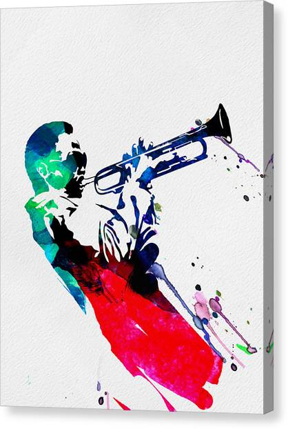 Classical Guitars Canvas Print - Miles Watercolor by Naxart Studio