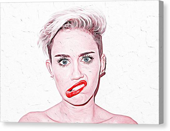 Taylor Swift Canvas Print - Miley Cyrus by Iguanna Espinosa
