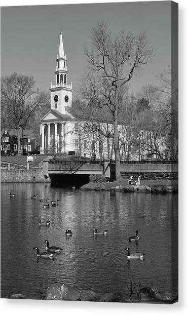 Milford Congregational Church Bw Canvas Print