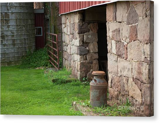 Milk Can At Stone Barn Canvas Print