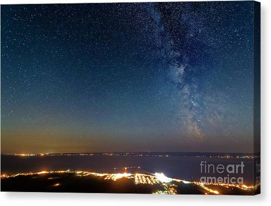 Milky Way Above Carleton In Quebec Canvas Print by Colin Woods
