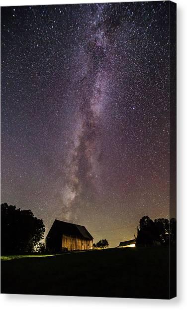 Milky Way And Barn Canvas Print