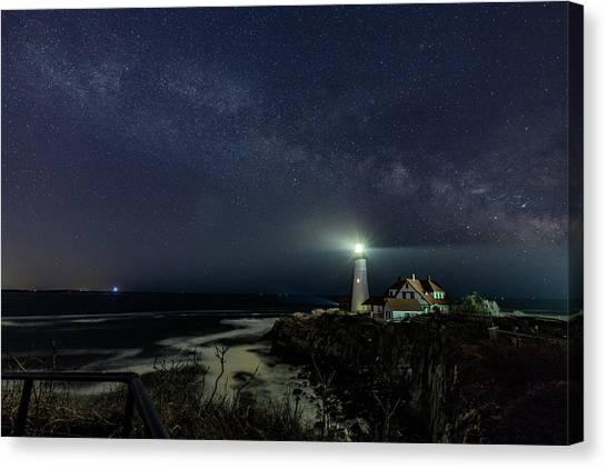Milky Way At Portland Head Light Canvas Print