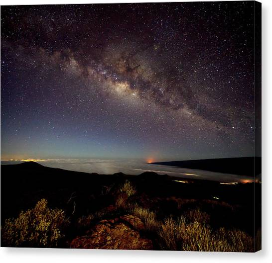 Mauna Loa Canvas Print - Milky Way From Mauna Kea by Christopher Johnson