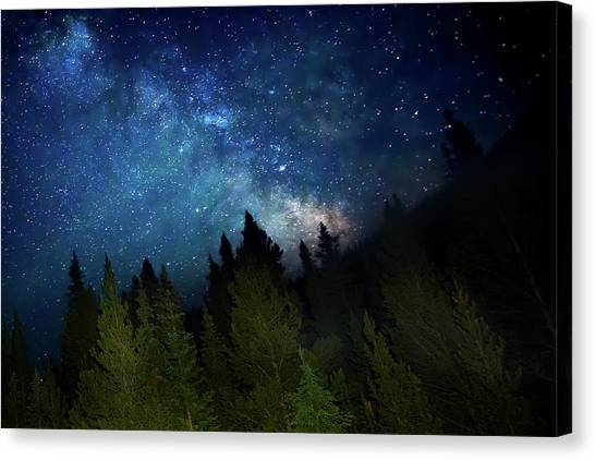 Milky Way On The Mountain Canvas Print