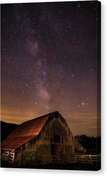 Milky Way Over Boxley Barn Canvas Print