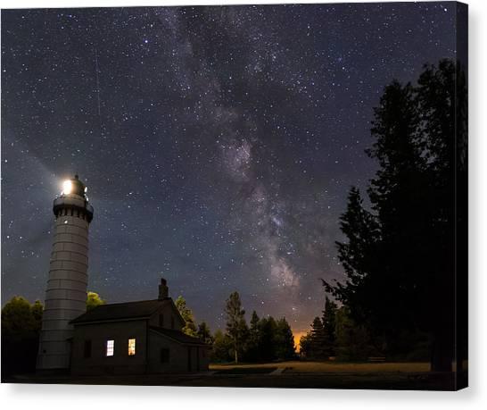Milky Way Over Cana Island Lighthouse Canvas Print