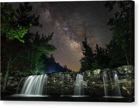 Milky Way Over Falling Waters Canvas Print
