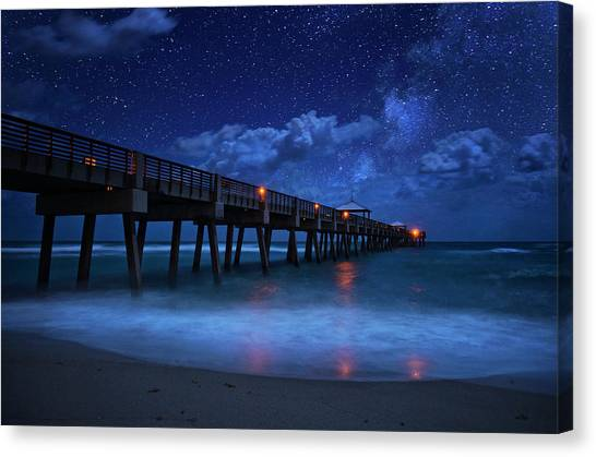 Milky Way Over Juno Beach Pier Under Moonlight Canvas Print