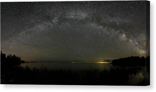 Milky Way Over Lake Michigan At Cana Island Lighthouse Canvas Print