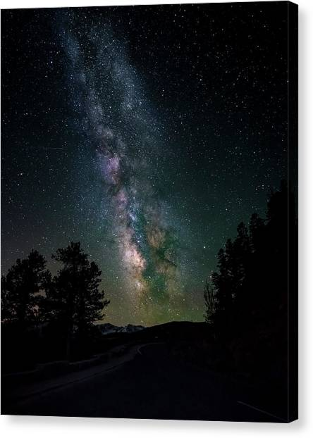 Milky Way Over Rocky Mountains Canvas Print