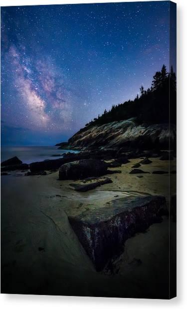 Nightcap Canvas Print - Milky Way Over Sand Beach - Acadia National Park by Jeff Bazinet