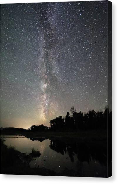 Milky Way Over Schwabacher's Landing Canvas Print by Jean Clark