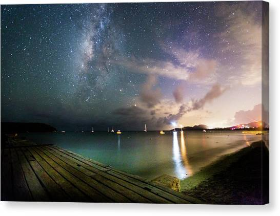 Milky Way Over Sugar Cane Pier Canvas Print by Karl Alexander